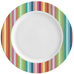 Retro Vertical Stripes Ceramic Dinner Plates (Set of 4) (Personalized)