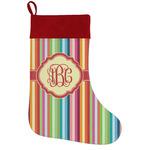 Retro Vertical Stripes Holiday Stocking w/ Monogram