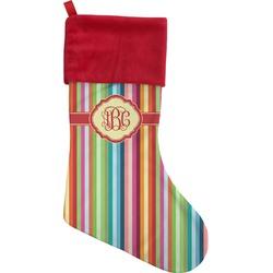 Retro Vertical Stripes Christmas Stocking (Personalized)
