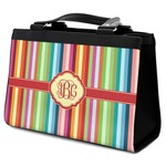 Retro Vertical Stripes Classic Tote Purse w/ Leather Trim (Personalized)