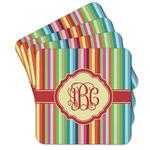 Retro Vertical Stripes Cork Coaster - Set of 4 w/ Monogram