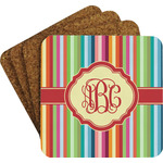 Retro Vertical Stripes Coaster Set w/ Stand (Personalized)