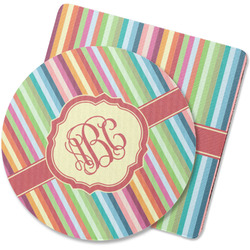 Retro Vertical Stripes Rubber Backed Coaster (Personalized)