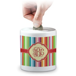 Retro Vertical Stripes Coin Bank (Personalized)