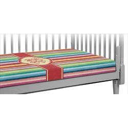 Retro Vertical Stripes Crib Fitted Sheet (Personalized)
