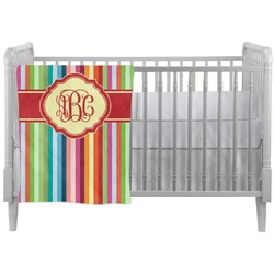Retro Vertical Stripes Crib Comforter / Quilt (Personalized)