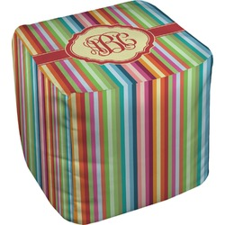Retro Vertical Stripes Cube Pouf Ottoman (Personalized)