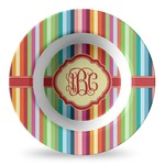 Retro Vertical Stripes Plastic Bowl - Microwave Safe - Composite Polymer (Personalized)