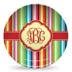 Retro Vertical Stripes Microwave Safe Plastic Plate - Composite Polymer (Personalized)