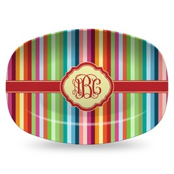 Retro Vertical Stripes Plastic Platter - Microwave & Oven Safe Composite Polymer (Personalized)