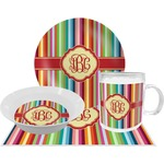 Retro Vertical Stripes Dinner Set - 4 Pc (Personalized)