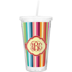 Retro Vertical Stripes Double Wall Tumbler with Straw (Personalized)