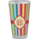 Retro Vertical Stripes Drinking / Pint Glass (Personalized)