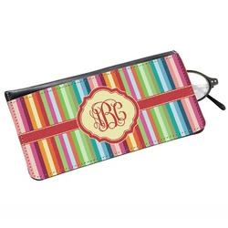 Retro Vertical Stripes Genuine Leather Eyeglass Case (Personalized)