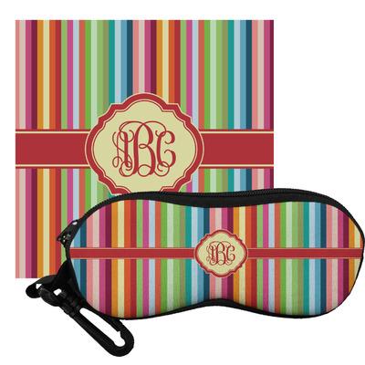 Retro Vertical Stripes Eyeglass Case & Cloth (Personalized)