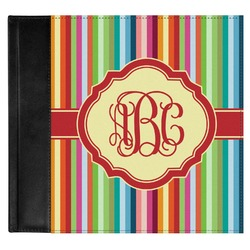 Retro Vertical Stripes Genuine Leather Baby Memory Book (Personalized)