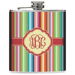 Retro Vertical Stripes Genuine Leather Flask (Personalized)