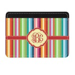 Retro Vertical Stripes Genuine Leather Front Pocket Wallet (Personalized)
