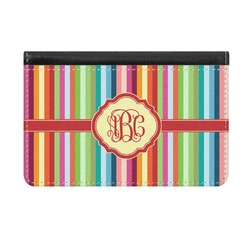 Retro Vertical Stripes Genuine Leather ID & Card Wallet - Slim Style (Personalized)