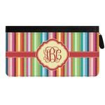 Retro Vertical Stripes Genuine Leather Ladies Zippered Wallet (Personalized)