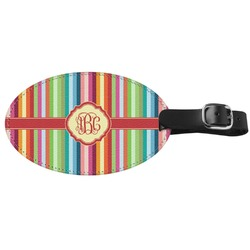 Retro Vertical Stripes Genuine Leather Oval Luggage Tag (Personalized)