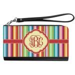 Retro Vertical Stripes Genuine Leather Smartphone Wrist Wallet (Personalized)