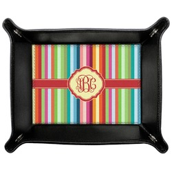 Retro Vertical Stripes Genuine Leather Valet Tray (Personalized)