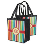 Retro Vertical Stripes Grocery Bag (Personalized)