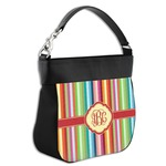 Retro Vertical Stripes Hobo Purse w/ Genuine Leather Trim (Personalized)