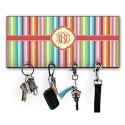Retro Vertical Stripes Key Hanger w/ 4 Hooks (Personalized)