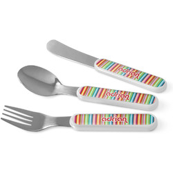 Retro Vertical Stripes Kid's Cutlery (Personalized)