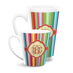 Retro Vertical Stripes Latte Mug (Personalized)