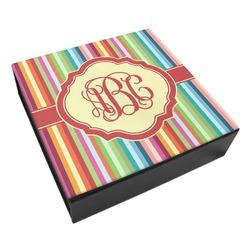 Retro Vertical Stripes Leatherette Keepsake Box - 3 Sizes (Personalized)