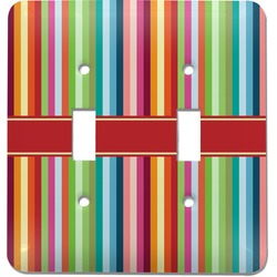 Retro Vertical Stripes Light Switch Cover (2 Toggle Plate) (Personalized)