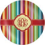 Retro Vertical Stripes Melamine Plate (Personalized)