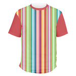 Retro Vertical Stripes Men's Crew T-Shirt (Personalized)