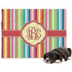 Retro Vertical Stripes Minky Dog Blanket (Personalized)