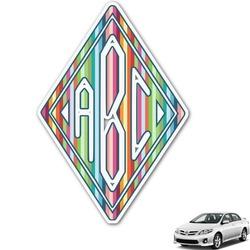 Retro Vertical Stripes Monogram Car Decal (Personalized)