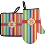 Retro Vertical Stripes Oven Mitt & Pot Holder (Personalized)