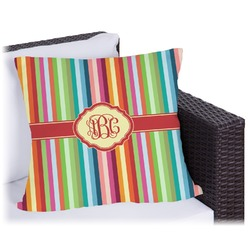 Retro Vertical Stripes Outdoor Pillow (Personalized)
