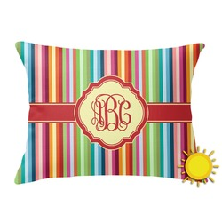 Retro Vertical Stripes Outdoor Throw Pillow (Rectangular) (Personalized)