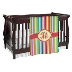 Retro Vertical Stripes Baby Blanket (Personalized)