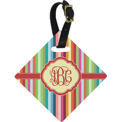 Retro Vertical Stripes Diamond Luggage Tag (Personalized)