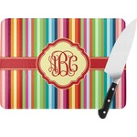 Retro Vertical Stripes Rectangular Glass Cutting Board (Personalized)