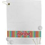 Retro Vertical Stripes Golf Towel (Personalized)