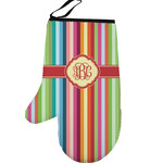 Retro Vertical Stripes Left Oven Mitt (Personalized)