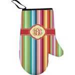 Retro Vertical Stripes Right Oven Mitt (Personalized)
