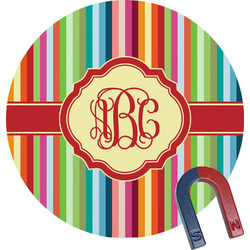 Retro Vertical Stripes Round Magnet (Personalized)