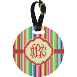 Retro Vertical Stripes Round Luggage Tag (Personalized)