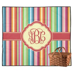 Retro Vertical Stripes Outdoor Picnic Blanket (Personalized)
